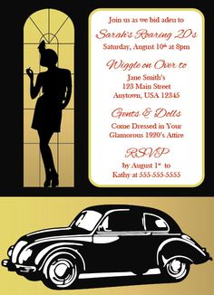 Roaring 20's Flapper/Great Gatsby Party Invitation sur Etsy, $22.97 CAD