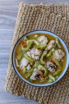 Inampalayahang Manok is a Filipino chicken soup dish prepared with chicken and bitter gourd cooked with tomatoes, onions, ginger and garlic Filipino Dishes, Filipino Recipes, Filipino Food, Hangover Soup, Moo Shu Pork, Philippine Cuisine, Soup Dish, Pinoy Food, Chicken Seasoning