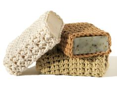 Crochet cotton soap pouches - beautiful and practical! Love it. http://www.etsy.com/listing/72521565/eco-friendly-soap-pouch-organic-color