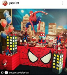 Birthday party decorations ideas for men spider man 50 Ideas - Spider-Man party - Spider Man Party, Spider Man Birthday, Spiderman Theme Party, Superhero Birthday Party, Avenger Party, Birthday Party Desserts, 6th Birthday Parties, 4th Birthday, Birthday Ideas