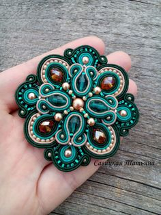 Elegant Emerald Beige Soutache Brooch-Hand by MagicalSoutache Crystal Beads, Glass Beads, Soutache Tutorial, Soutache Necklace, Beaded Jewelry Patterns, Beads And Wire, Clay Jewelry, Beaded Embroidery, Statement Jewelry
