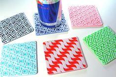 Posavasos retros Pop Art de impresión 3D montaña rusa juego de 6, posavasos, ilusiones ópticas, Geek regalo 3D, juego de montaña rusa bebida Resumen