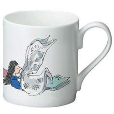 Beautiful printed premium bone china mug, featuring illustration by Quentin Blake of Roald Dahl's Matilda Wondering What to Read Next. Wonderful Retro Gift.