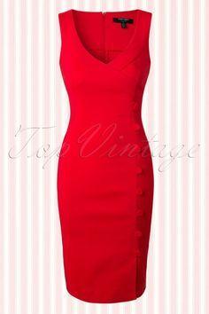 Fever - 50s Julia Pencil Dress in Red