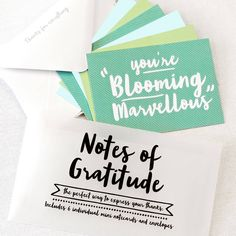 'Little Notes Of Gratitude' Notecard Set. Want to say a little thank you to someone who has done you a good deed? These bright & bold notecards may just help.