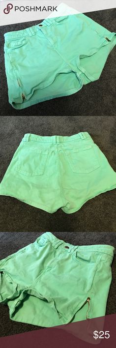 Mint green American Apparel shorts Mint green American Apparel shorts size 28/29. Size zips at outer thighs on both sides. Sides measure 12 inches. Inseam is 1.5 - 2 in American Apparel Shorts
