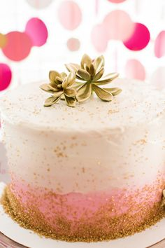 Ombre cake: http://www.stylemepretty.com/living/2015/03/09/flamingo-first-birthday-bash/ | Photography: Brooke Images - http://www.brookeimages.com/