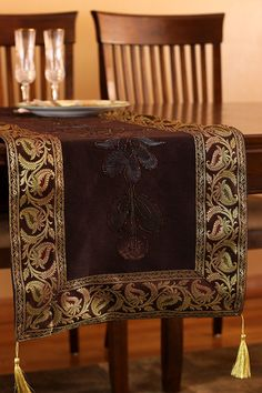 Hand Painted 72 Inch By 17 Inch Table Runner (Coffee Brown)