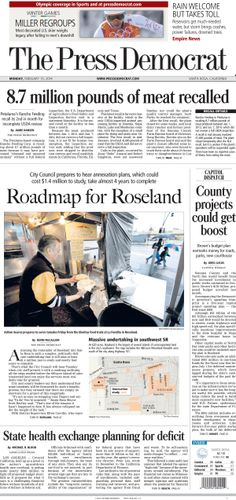 Press Democrat A-1 from Monday, Feb. 10, 2014.