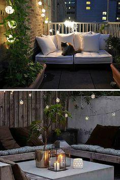 Ideas para terrazas y balcones pequeños con luces