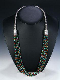 Native American Indian Jewelry 5 Strand Multi-Stone Necklace