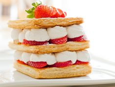 Strawberry Millefeuille recipe from Williams-Sonoma. Ingredients: 1 sheet puff pastry package), thawed according to package instructions and unfolded, 1 egg, lightly beaten, 1 c. Millefeuille Rezept, Profiteroles, The Great British Bake Off, British Baking, No Bake Desserts, Food Photo, Finger Foods, Baked Goods, Cheesecake