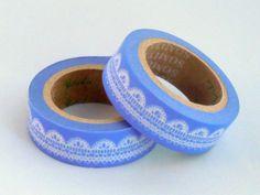 Wedgewood Blue Lace Washi Tape / / Scallop Edge Lace, £2.25