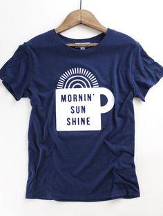 Mornin' Sun Shine Tee. Suburban Riot women's graphic tee. Navy blue graphic tee. Coffee graphic tee. Spring style. Spring outfit inspo at therollinj.com.