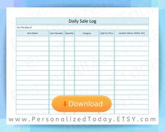Daily Sales Log Sheet Printable Track Inventory Goods and Quantities Sold For Future Sales Projection, Tax Records & Sales Trend Forecasting - Small Business Forms Convience Store, Sales Template, Tracker Free, Business Planning, Business Ideas, Business Sales, Planner Pages, Temperature Chart, Printables