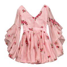 V neck floral flare sleeves chiffon dress NA01 – iawear