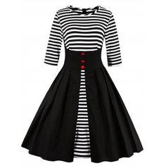 Fit и Flare Stripe Midi Dress