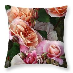 """Antique Roses Throw Pillow 14"""" x 14"""" by Anna Porter"""