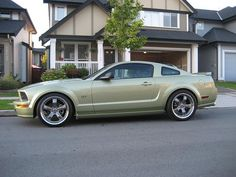 Lime green Ford Mustang. The color I want.