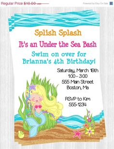 Coupon Code Repin10 For 10 Off Under The Sea Birthday Printable