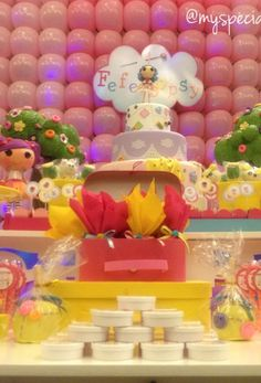 LaLaloopsy Birthday Party backdrop and dessert table!  See more party ideas at CatchMyParty.com!