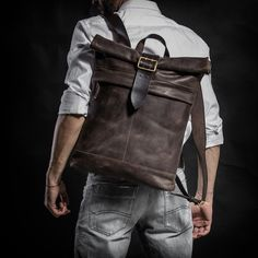 Vintage Roll Top Leather Backpack in Brown by Kruk Garage on Jetset Times SHOP