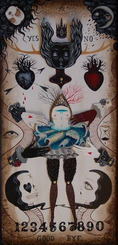 Jennybird Alcantara: Recent Shows Love Invocation Acrylic on watercolor paper - 18 inches x 24 inches , 2011 Art And Illustration, Collages, Lowbrow Art, Pop Surrealism, Occult, Dark Art, Altered Art, Fantasy Art, Creepy