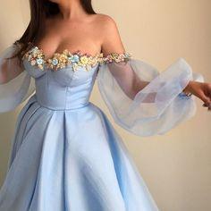 Light Blue Sexy Prom Dress,Bubble Sleeve with Tulle ,Evening Dress,Cute Party Dress TT235#2018promdress#graduationdress#2018eveningdress#dress#dresses#gowns#partydress#longpromdress