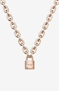 Michael Kors 'Motif Brilliance' Padlock Pendant Necklace available at #Nordstrom