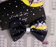 Espeon and Umbreon Pokemon Hair bow or  Bow tie Handmade  Kawaii Gamer Bow