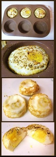 Broiled eggs: 1)Preheat oven to 450 F Lightly butter a muffin tin 2)Put one egg per well, add salt, pepper, seasonings as you like 3)Broil for ~10 minutes (a little less if you like the yolk runny) 4)Eat up :D