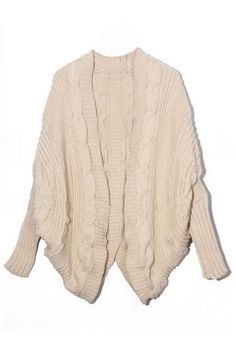 Asymmetric Dolman Sleeves Cream Cardigan | victoriaswing