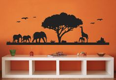 African Savannah #3 Wall Sticker Decoration - Great Trees with Animals