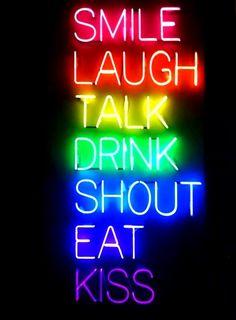 Rainbow colors ❖de l'arc-en-ciel❖❶Toni Kami Colorful neon sign smile laugh talk drink shout eat kiss
