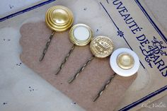 #Glam #Golden White hair #pins set #Vintage buttons by chezviolette