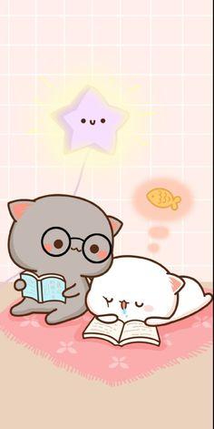 Cute Anime Cat, Cute Bunny Cartoon, Cute Kawaii Animals, Cute Cartoon Pictures, Cute Love Cartoons, Iphone Wallpaper Cat, Cute Panda Wallpaper, Kawaii Wallpaper, Cute Bear Drawings