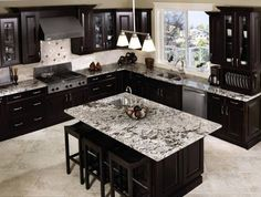 Inspiring Ideas For Black Kitchen Cabinets With Marble Countertops And Dining Table. This picture is one of many ideas on cool kitchen ideas with black cabinets. Kitchen Craft Cabinets, Kitchen Cabinet Design, Kitchen Countertops, Kitchen Backsplash, Backsplash Ideas, Marble Countertops, Dark Counters, Melamine Cabinets, Countertop Decor