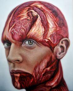 Meat faces, Miguel scheroff paintings, flesh portrait,mea tportrait,contemporary paint,scheroff. Vanitas, flesh, drawing, oil canvas, meat faces, meat face