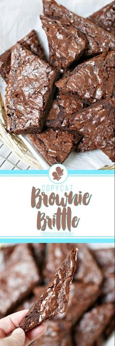 Copycat Brownie Brittle Recipe that's made from a box mix for a quick and easy treat! I bet you have all of the ingredients in your pantry right now! Lauren B Montana Yum! Brownie Brittle Recipe, Brittle Recipes, Brownie Recipes, Chocolate Recipes, Cookie Recipes, Brownie Crockpot, Best Dessert Recipes, Candy Recipes, Desert Recipes
