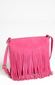 suede fringed crossbody bag $48
