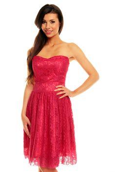 Sukienka Gorsetowa z Koronki Różowa KM142