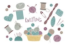 Set of knitting and crafts.  by Kate Macate on @creativemarket