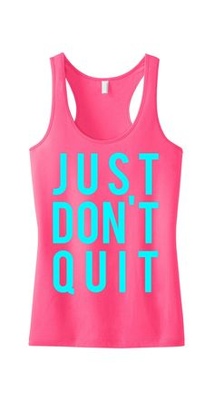 JUST DON'T QUIT Workout Tank Top Pink with Teal print, crossfit, Workout Tank, Gym Tank, crossfit tank top, Crossfit, Workout Shirt, Fitness