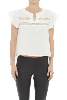 Top with Lace Inserts - White - ANINE BING