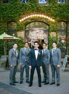 Brad in dark charcoal and the guys in light grey. We really like this look, but with vests. It makes the groom really stand out.