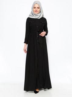 Boydan Düğmeli Elbise - Siyah - BÜRÜN