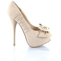 Beige High Heels Shoes with Peep Toe