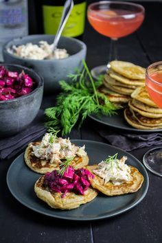 Rye Blini with Hot-Smoked Salmon Dip and Russian Beet Salad {Katie at the Kitchen Door  Rye and Caraway Blini Recipe adapted fromFood & Wine. Makes 30-40 blini. 1 1/2 c. buttermilk 3/4 c. AP flour 1/2 c. rye flour 2 eggs 3 TBS butter, melted 1 TBS brown sugar 1 tspwhole caraway seeds 1 tspcoarse kosher salt 1/2 tsp baking powder 1/2 tsp baking soda 1/2 c. seltzer or club soda