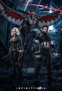 Avengers infinity war Black Widow,falcon,Captain america
