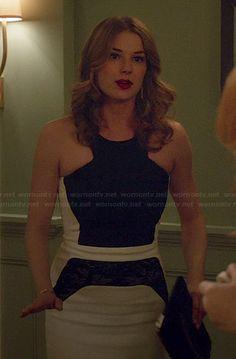 Emily's black and white lace panel dress on Revenge.  Outfit Details: http://wornontv.net/43575/ #Revenge